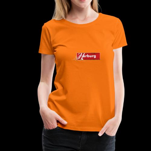 Damen T-Shirt: Hamburg-Harburg Schild mit Tattoo-Initial  - Frauen Premium T-Shirt