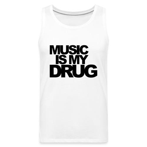 Music is my drug Muskelshirt weiß/schwarz - Männer Premium Tank Top