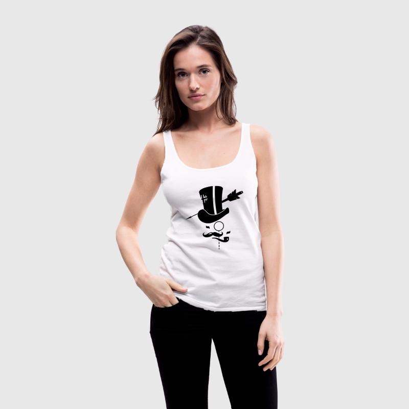 Cylinder hat, mustache, monocle, pipe and arrow Tops - Women's Premium Tank Top