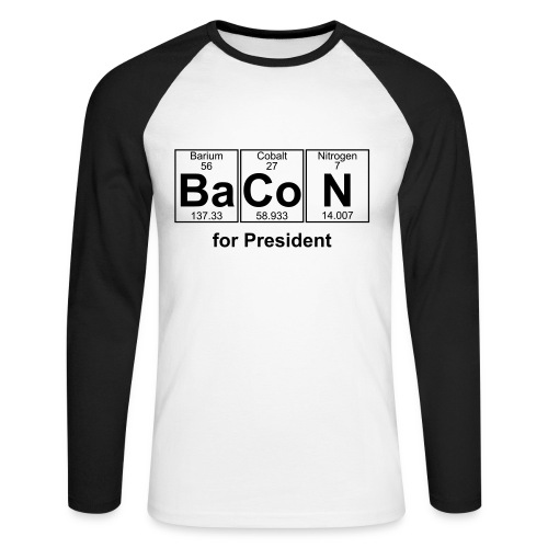 Bacon for President (you can change text) - Men's Long Sleeve Baseball T-Shirt