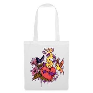 BUTTERFLY/HEART BAG WHITE - Tas van stof