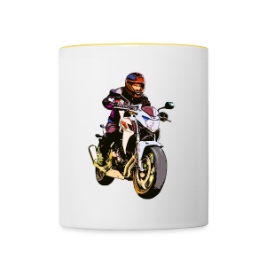 Motorradfahrer Comic - Tasse zweifarbig