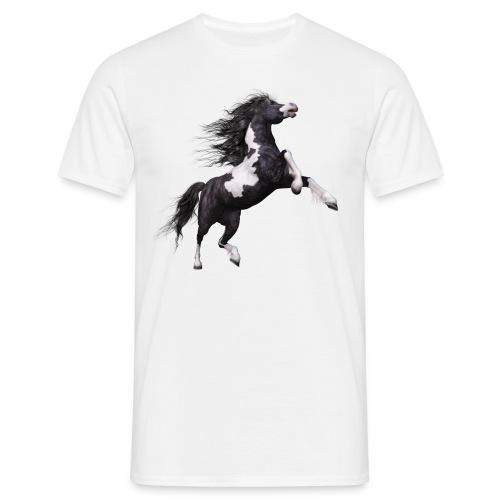 Weiß - schwarzes Pferd - Männer T-Shirt