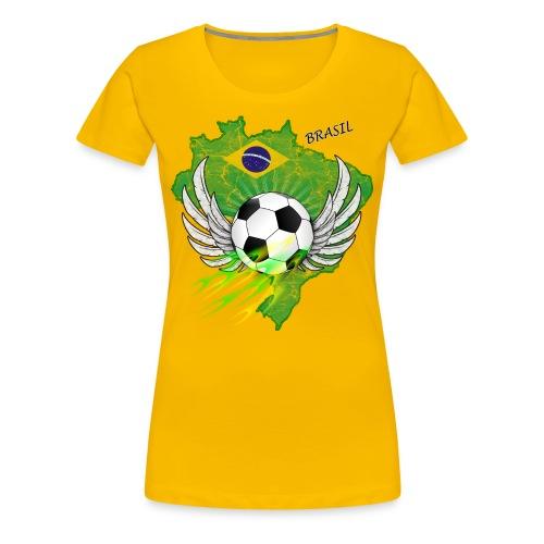 Fußball T-shirt mit Brasilien Flage - Frauen Premium T-Shirt