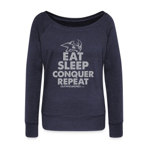 Eat sleep conquer repeat | Womens jumper - Women's Boat Neck Long Sleeve Top