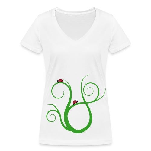 Marienkäfer auf geschwungenem Gras - Frauen Bio-T-Shirt mit V-Ausschnitt von Stanley & Stella