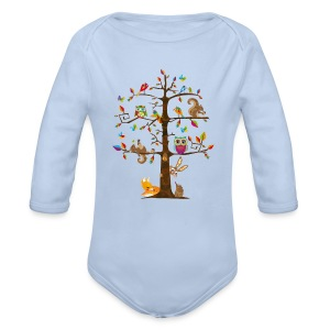 colorful animals on a tree  Hoodies - Baby One-piece