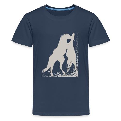 Kinder T-Shirt mit zwei spielende Pferde - Teenager Premium T-Shirt