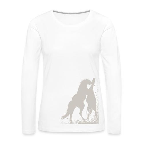Frauen T-Shirt mit zwei spielende Pferde - Frauen Premium Langarmshirt