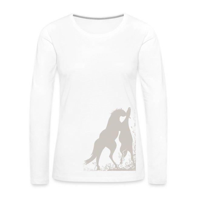 Frauen T-Shirt mit zwei spielende Pferde