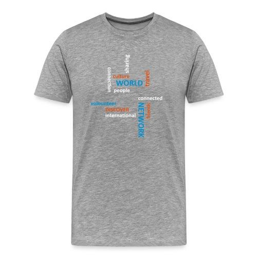 Grå herre med word cloud (AFS logo på ærme) - Herre premium T-shirt
