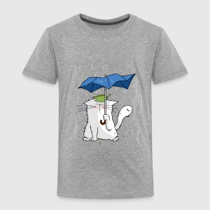Gråmelert Cat and blue umbrella Skjorter - Premium T-skjorte for barn