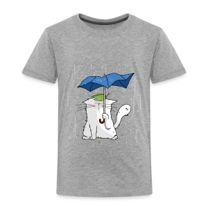 Harmaasävyinen Cat and blue umbrella Paidat - Lasten premium t-paita