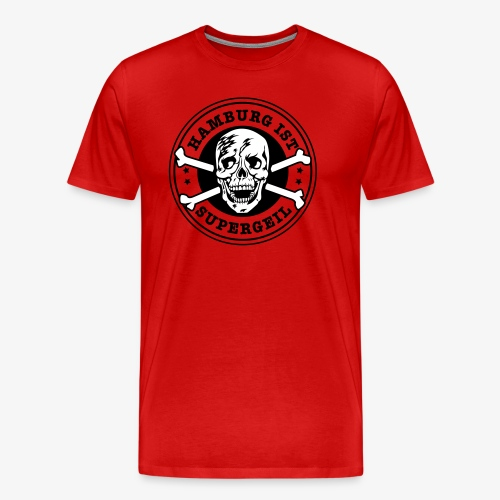 Hamburg ist supergeil Totenkopf Skull Männer T-Shirt rot alle Farben - Männer Premium T-Shirt
