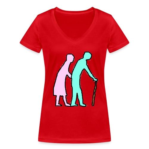 TS ROUGE FEMME PLUS LOIN A DEUX - T-shirt bio col V Stanley & Stella Femme