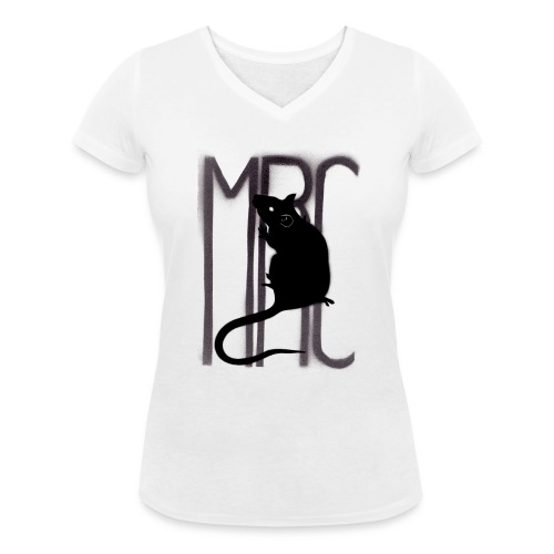 Ladies' v neck t-shirt with black MRC rat - Women's Organic V-Neck T-Shirt by Stanley & Stella