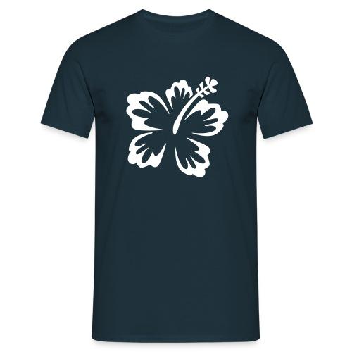 T-shirt Bleu avec fleur blanche - T-shirt Homme