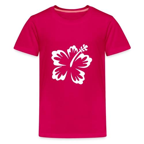 t-shirt rose avec fleur blanche - T-shirt Premium Ado