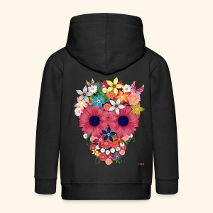 Flower Skull Kids' Zip Hoodie - Kids' Premium Zip Hoodie