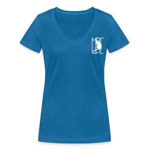 Ladies' v neck t-shirt with white MRC rat - Women's Organic V-Neck T-Shirt by Stanley & Stella