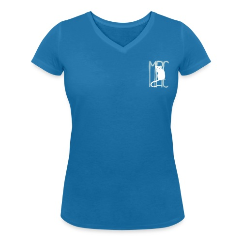 Ladies' v neck t-shirt with white MRC rat - Women's Organic V-Neck T-Shirt by Stanley & Stella