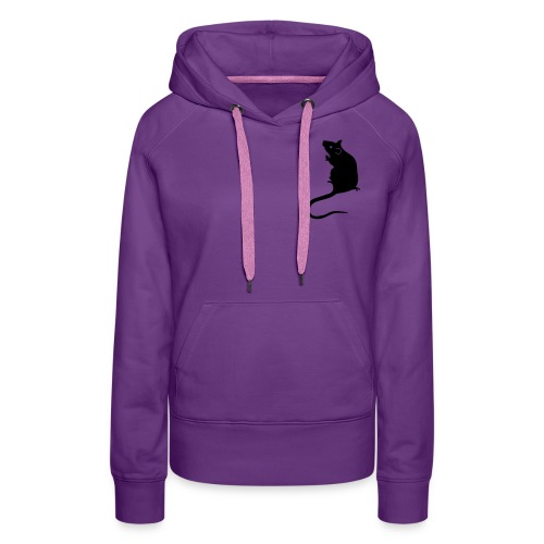 Ladies' hoodie with black rat - Women's Premium Hoodie