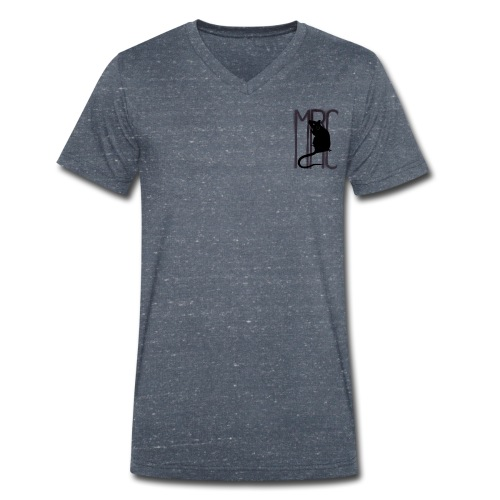 Gents' v neck t-shirt with black MRC rat - Men's Organic V-Neck T-Shirt by Stanley & Stella