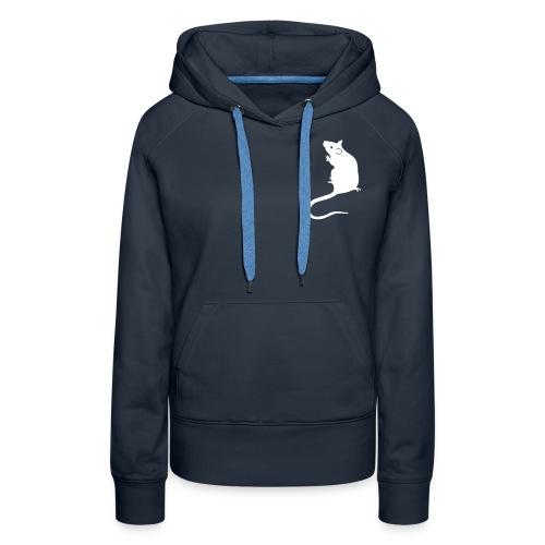 Ladies' hoodie with white rat - Women's Premium Hoodie