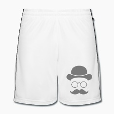 Funny vintage face with Moustache & Glasses Trousers & Shorts