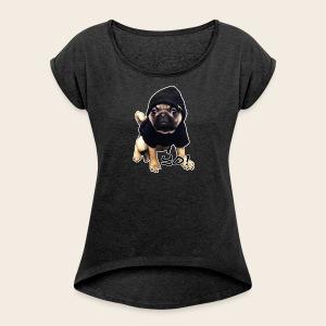 YO! Mops T-Shirt - Frauen T-Shirt mit gerollten Ärmeln