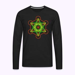 Metatron Cube 3-Color Long Sleeve - Mannen Premium shirt met lange mouwen
