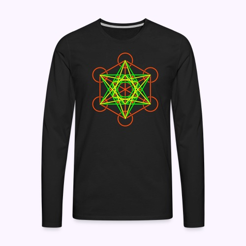 Metatron Cube 3-Color Long Sleeve - Men's Premium Longsleeve Shirt