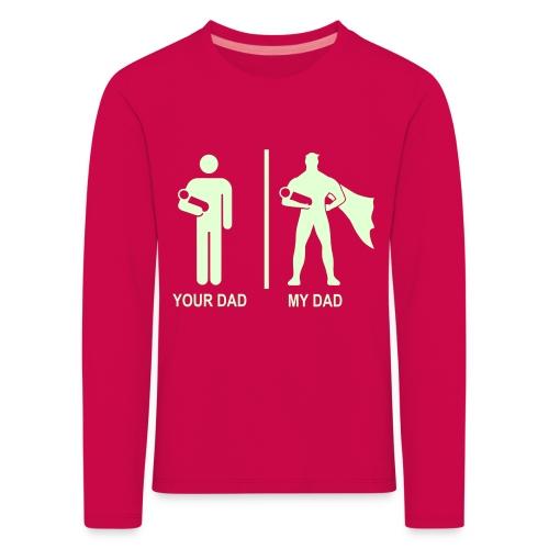 Pimeässä hohtava - Lasten premium pitkähihainen t-paita