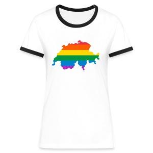 Schweiz Regenbogen Land - Frauen Kontrast-T-Shirt