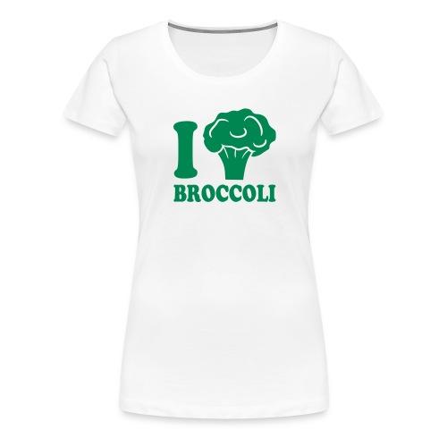 I Love Broccoli Ladies Tee - Green Print - Women's Premium T-Shirt