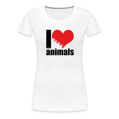 I Love Animals Ladies Tee - Women's Premium T-Shirt