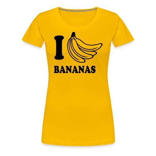 I Love Bananas Ladies Tee - Black print - Women's Premium T-Shirt