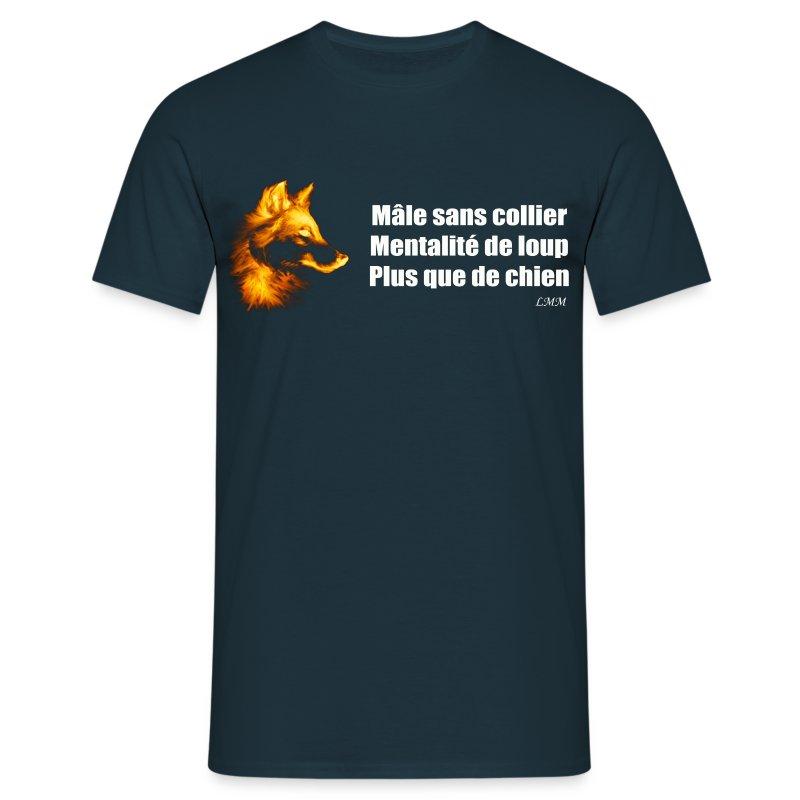T-shirt homme bleu Mâle sans collier - T-shirt Homme