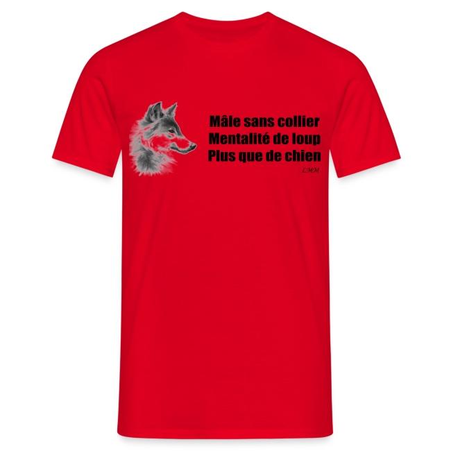 """T-shirt homme rouge """"Mâle sans collier"""""""