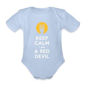 keep calm i am a red devil - Baby bio-rompertje met korte mouwen