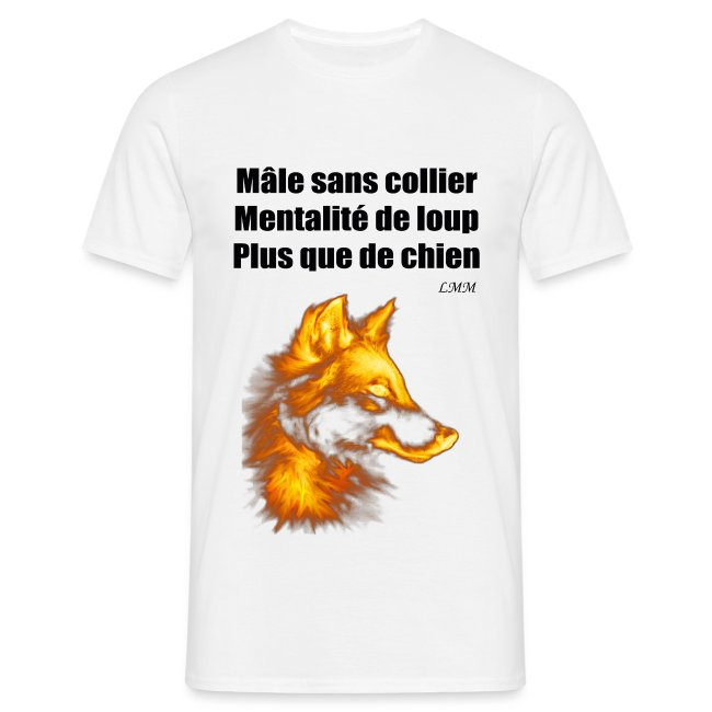 """T-shirt homme blanc """"Mâle sans collier"""" maxi motif"""