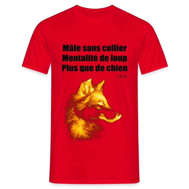 T-shirt homme rouge Mâle sans collier maxi motif - T-shirt Homme