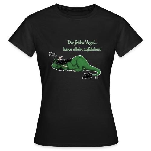 Drachi Dragon müde grün/green FrauenT-Shirt Frontdruck - Frauen T-Shirt