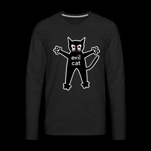 männer, longsleeve, evil cat - Männer Premium Langarmshirt