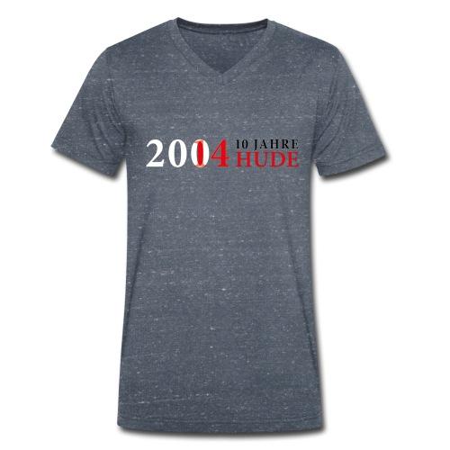 10 Jahre HUDE Schriftzug  - Männer Bio-T-Shirt mit V-Ausschnitt von Stanley & Stella