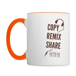 copy remix share - Tasse zweifarbig