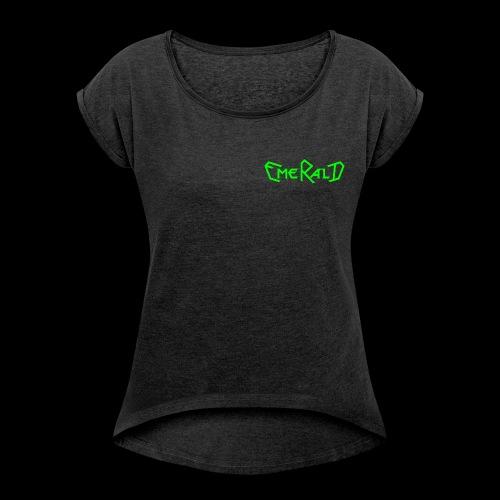 Schriftzug klein - Frauen T-Shirt mit gerollten Ärmeln