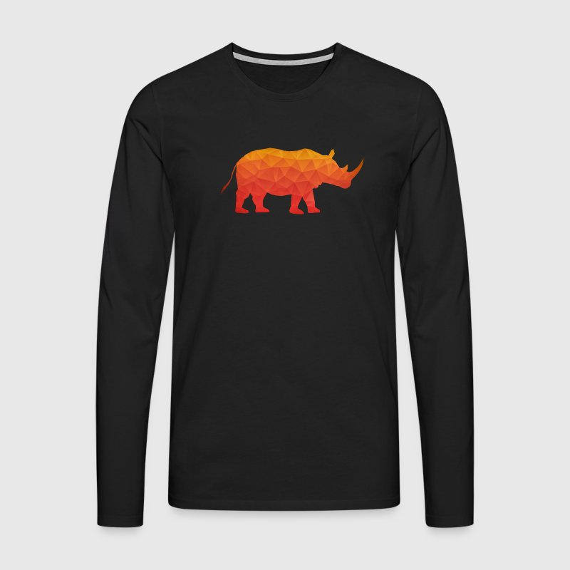 Retro Triangle Origami Rhinoceros / Rhino Long sleeve shirts - Men's Premium Longsleeve Shirt