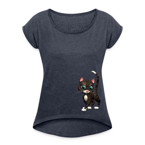Cat Shirt - Frauen T-Shirt mit gerollten Ärmeln