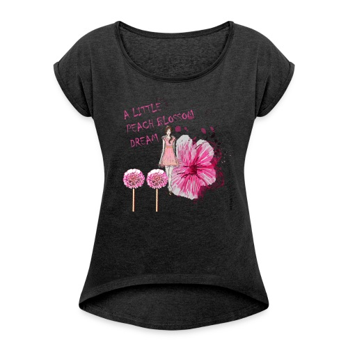 A LITTLE PEACH BLOSSOM DREAM Damen boyfriend - Frauen T-Shirt mit gerollten Ärmeln